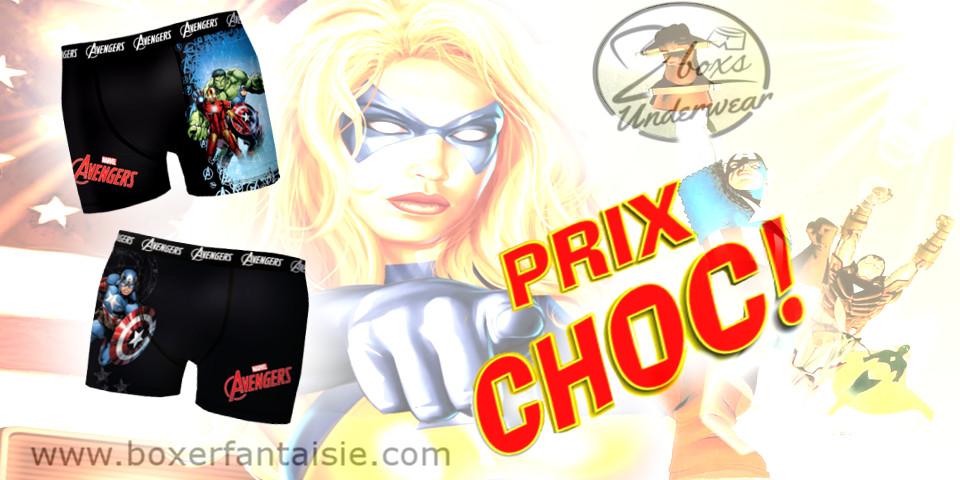 boxer fantaisie Homme Prix choc Avengers